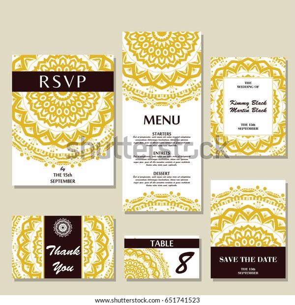 Set Wedding Invitations Wedding Cards Template Stock Image