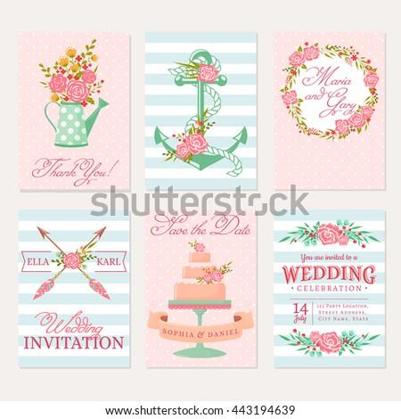 set wedding invitations elegant banner templates stock vector