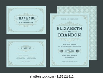 Set wedding invitations flourishes ornaments cards. Invite, save the date, and information design. Vintage victorian frames and decorations. Vector elegant template.