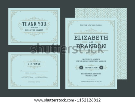 set wedding invitations flourishes ornaments cards stock vector