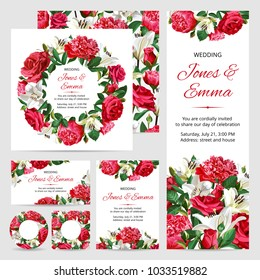 Set of Wedding Invitations. Red and White Flowers on White Background.