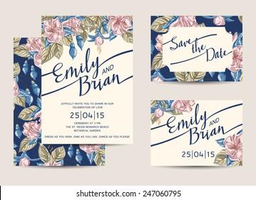 Set of Wedding Invitations Template. Vector Illustration.