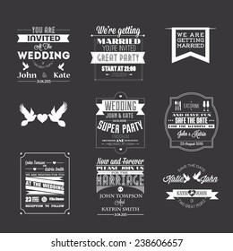 Set of wedding invitations, typography design elements