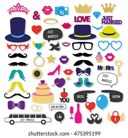 Set of Wedding Photo Booth Props