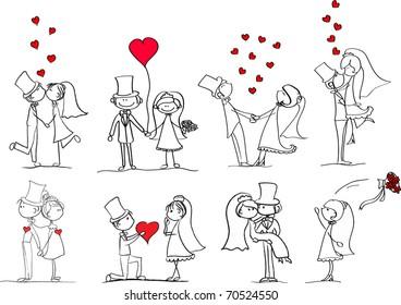 一套婚礼照片, 恋爱的新娘和新郎, 矢量