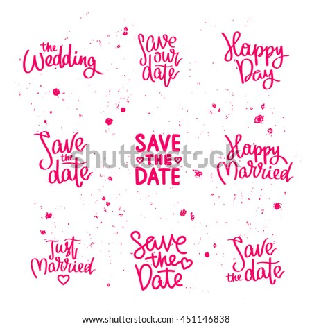 Set Wedding Quotes Save Date Just Stock Vector Royalty Free Cool Just Married Quotes