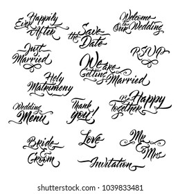 Set of Wedding related brush calligraphy. Great for holiday design.