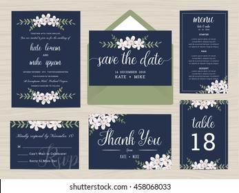 Set of wedding suite template decorate with flower in navy blue color. Includes save the date, wedding invitation, wedding menu, RSVP, thank you card and table number. Vector illustration.