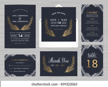 Set of wedding suite template decorate with flowers. Includes save the date, wedding invitation, wedding menu, RSVP, thank you card and table number. Vector illustration.