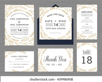 Set of wedding suite template decorate with wreath flowers. Includes save the date, wedding invitation, wedding menu, RSVP, thank you card and table number. Vector illustration.