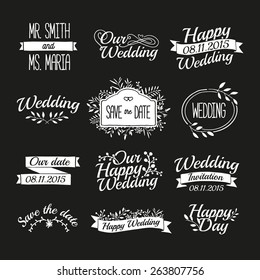 Set of wedding vintage retro logos, signs, labels, stickers. Typographical background with floral ornaments, ribbons, frames. Vector.