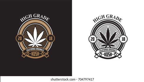 Set of weed medical marijuana badge emblems
