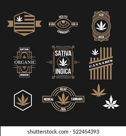 Set of weed medical marijuana emblems