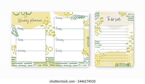 Set of weekly planner and to-do-list templates decorated by vivid paint traces and smears. Printable dairy pages for daily planning and appointment scheduling. Modern artistic vector illustration.