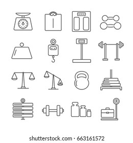 Set of weight Related Vector Line Icons. Includes such Icons as kettle-bell, dumbbell, barbell, weights, kilogram, gram