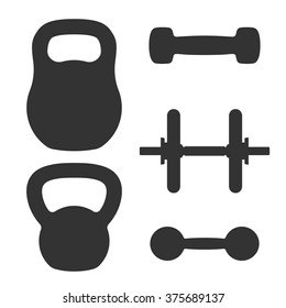 Set of weights. Dumbbells and kettlebells