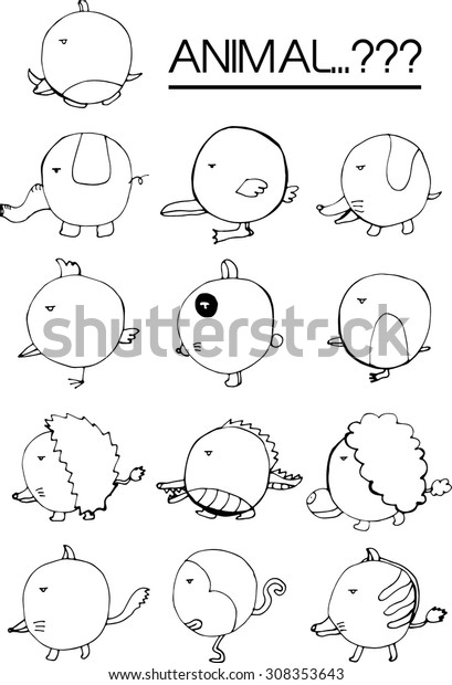 Set Weird Animals Stock Vector (Royalty Free) 308353643