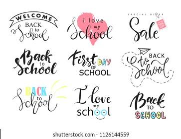Set of Welcome back to school labels. School Background. Back to school sale tag. Vector illustration. Hand drawn lettering badges. Typography emblem set.
