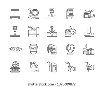 Set of Welding Line Icons. Spot Machine, Washers, Bolts, Laser Cutting Machine, Bulgarian Saw, Grinder, Welder Mask, Safety Gloves, Manometer, Gas Burner, Blowtorch and more. Pack of 48x48 Pixel Icons