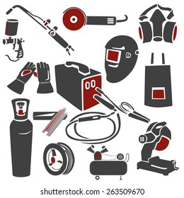 A set of welding and metal works icons. EPS10 vector illustration