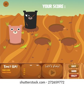 set of whack a bear gui interface theme game's design.it has menu,time up,score board and cute bear.