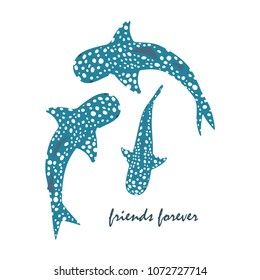 set with whale sharks and inscription friends forever, banner with sharks, fish backdrop