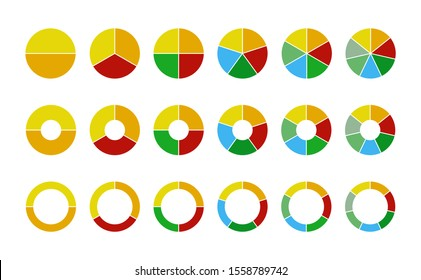 Set of wheel business chart icons in a variety of segments isolated on white.