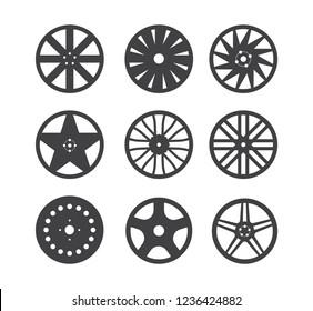 Set of wheel rim isolated on white background