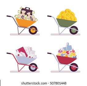 Set of wheelbarrows full money, coins, paper, likes. Cartoon vector flat-style illustration