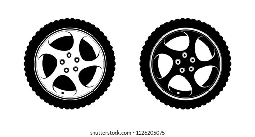 Set of Wheels Clipart in white and black disks. Vector Illustration for Tire Service or Auto Business decoration. Premium Design of wheels on white.