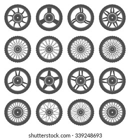 Set of wheels for motorcycles