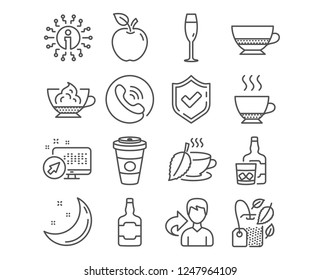 Set of Whiskey bottle, Whiskey glass and Mint tea icons. Espresso, Champagne glass and Takeaway coffee signs. Mint bag, Bombon coffee and Espresso cream symbols. Vector