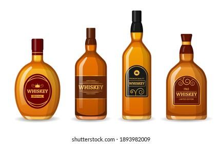 Set of Whiskey Bottles labeled. Alcohol Design Elements on White Background.