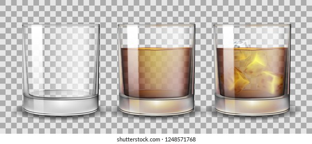 Set of whiskey, rum, bourbon or cognac glasses with Alcohol and without. Transparent Alcohol glasses Drink in a realistic style. Vector 3d illustration