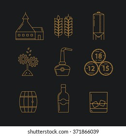 Set of whisky icons. Modern line style icons of whisky process and whisky industry. Gold pictogramm collection for whisky design. Flat vector symbols for whisky bar, restaurant,  pub.