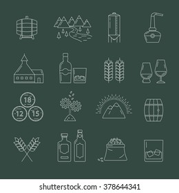 Set of whisky icons. Modern line style icons of whisky process and whisky industry. Pictogramm collection for whisky design. Flat vector symbols for whisky bar, restaurant, pub.