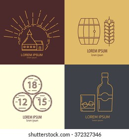 Set of whisky logotypes. Modern line style elements for whisky design. Flat vector logo collection for whisky bar, restaurant, pub.