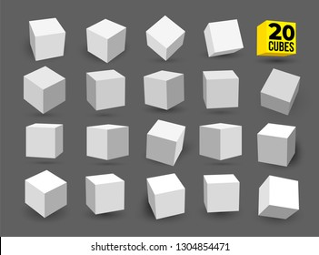 Set of white 3D cubes pack isolated on white background. Different light, perspective and angle. Vector illustration. Isolated on gray background.