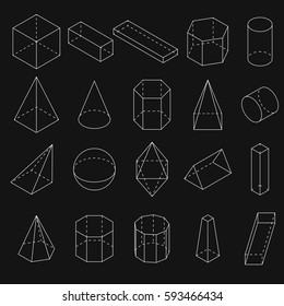 Set of white 3D geometric shapes. Isometric views. The science of geometry and math. Linear objects isolated on black background. Outline. Vector illustration.