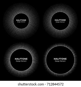 Set of White Abstract Emblem Circle Frame Halftone Dots Logo Design Elements for medical treatment, cosmetic, technology. Circle Border Icon halftone square dot vector elements.