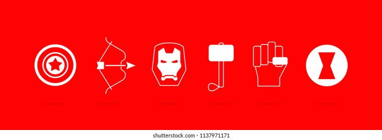 Set of white avengers Logos on red background vector