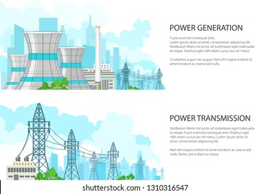 Set of White Banners with Electric Transmission, Nuclear Plant or Thermal Station, Power Station and High Voltage Power Lines Supplies Electricity to City, Vector Illustration