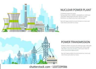 Set of White Banners with Electric Transmission, Thermal Power Station and High Voltage Power Lines Supplies Electricity to City, Vector Illustration