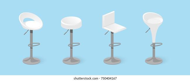Set of white bar stools. Bar chair. High chair. Bar interior design. Vector illustration