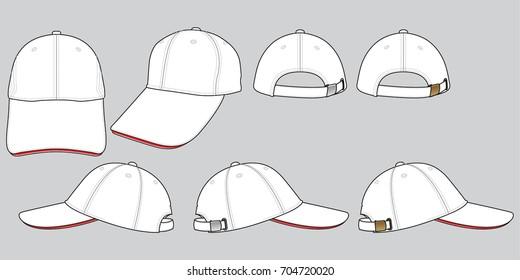 Set White Baseball Cap Vector for Template