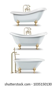 Set of white bathtubs of vintage style with clawfoot and golden elements. Vector illustration of classic rim tub, double slipper and ended tubs, isolated on white background.
