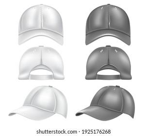 A set of white and black baseball caps, isolated on a white background. Caps and baseball caps design. Vector illustration