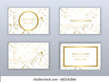 Set of white, black and gold business cards templates. Modern abstract design. Hand drawn ink pattern. Brush texture.