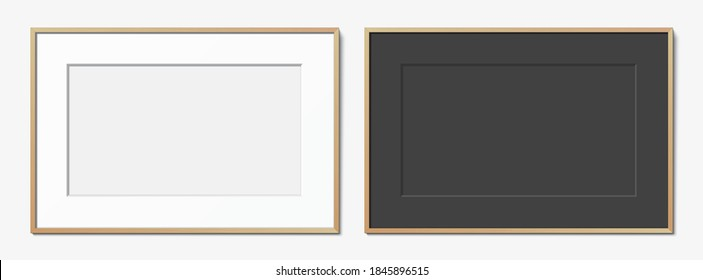 Set of white, and black horizontal wooden frames with passepartout hanging on a white wall. Blank elegant frame template, with copy space. Picture frame vector mockup.