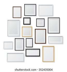 Set of White, Black, Realistic Light  and Dark Wood Blank Picture Frames, hanging on a White Wall, isolated on white background. Design Template for Mock Up. Square and rectangle shapes. Vector